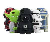 Cas de téléphone de silicone pour iPhone 6 6S plus 5S Heros Star Wars Darth Vader Maître Yoda Maul R2D2 Clone Stormtrooper Carton Case 3D