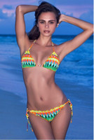 Sexy Triangl Swimwear Bohemian Retro Ethnic Colored Bikini S...