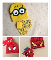 DHL Despicable Me Minions Spider- man Knitted Hat+ Gloves Suit...