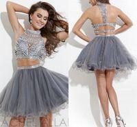 На складе 2016 г. Две части Homecoming платье Дешевые Кристаллы Sparkly Короткие Выпускные платья Luxury Party линия коктейль платье высокого шеи CPS175