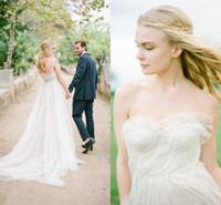 Элегантный 2016 года Новый Милая Богемские Свадебные платья линии шифон Pleats оборками Длина пола Свадебные платья BO8920