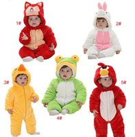 Baby Boys Girls Romper Animal Shapes Romper Kids Flannel Hoo...