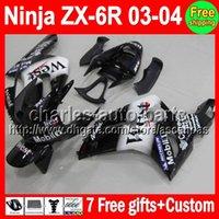 7gifts For KAWASAKI NINJA ZX6R 03- 04 ZX- 6R ZX636 Black West ...