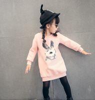 Korean Autumn Winter Cartoon Bunny Print Girl Long Sleeve T-...