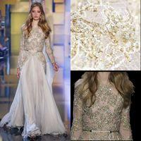 2016 Elie Saab Dresses Ivory Long Sleeves Lace Applique Even...
