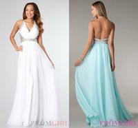 White Mint Green Prom Dresses 2015 Halter Crystal Backless E...