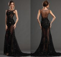 Robe De Bal Soirée Lace Evening Dresses 2015 Black Jewel Bea...