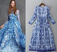 2015 Autumn New Women Vintage Blue and White Porcelain Print...