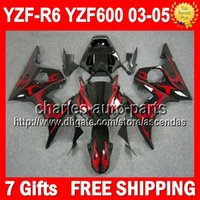 7gifts+ Body For YAMAHA YZF- R6 03- 05 Red black YZF R6 2003 20...