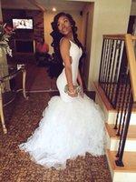 2016 New Sexy White Mermaid Prom Dresses Vestidos V Neck Ope...