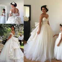 Sweetheart Beaded Bodice Spring Wedding Gowns Vintage Ball G...