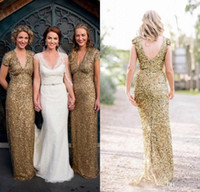 2016 Bling Sequins V Neck Backless Long Bridesmaid Dresses S...