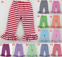 5PCS / LOT extravagantes meninas plissado calças boutique em vigas sólidos listras Duplo Ruffle
