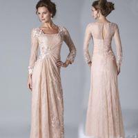 2016 Новый Blush Pink Lace мать длины пола невесты платья с длинными рукавами аппликаций Формальное мать вечерние платья Дешевые выполненное на заказ
