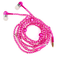 DHL free Diamond pearl chain 3. 5mm earphones with microphone...