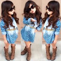 Girls Dot Princess Dress Baby Long- Sleeve 2pcs Sets Denim Dr...