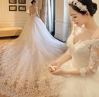 Роскошные свадебные платья 2 015 длинными рукавами Кружева Свадебные платья Бисер Линия шеи V Милая Вернуться длинный поезд Церковь Свадебные платья