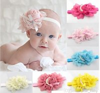 2014 Baby Girls Kids Adorable Hair Bands Vintage Roses Pearl...