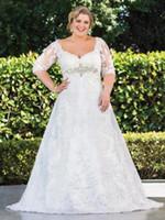 Extra Plus Размер Свадебные платья Кружева линии талии Eempire Кристалл качества бальное платье свадебное платье Половина рукава Off Sholulder Свадебные платья