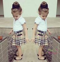 Girls Plaid Leather Ruffle 2pcs Sets Children Clothing Check...