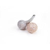 Luxe Bijoux précieux 925 Argent CZ Gemstone Diamond Rings pour les femmes Ross or et White Ball Plaqué Or Lords Anneau ARS13425