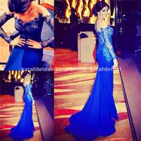 Royal Blue Mermaid шнурка Вечерние платья с Illusion Backless Свободная перевозка груза для арабских нигерийских женщин продается Дешевые Плюс Размер Winter Vestidos