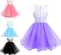 Cheap Short Homecoming Vestidos Jewel Neck Capped Sleeves A-Line Sheer Lace Topped Organza Cocktail Party Dresses Prom Gowns CPS169