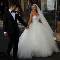2015 Ball Gown Wedding Dresses Sweetheart Corset Bridal Prin...
