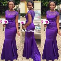 Красивая Regency Фиолетовый Длинные невесты платья для венчания 2016 Иллюзия бисером свадьбу вечерние платья Дубай горничной честь Wear Дешевые
