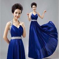 Long Bridesmaid dresses Royal Blue Champagne Purple Pink Gol...