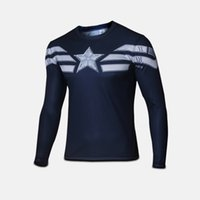 2015 new men t shirt Captain America long sleeve t- shirt men...