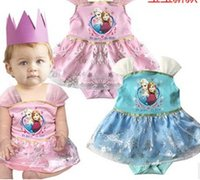 Froze Elsa Anna Princess Bodysuits Suspender Tutu Dress Infa...
