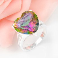 5pcs lot Lovely Heart Rainbow Mystic Topaz Gemstone 925 Ster...