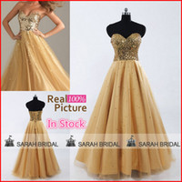 2015 Gold Prom Dresses Lace Up Sparkly Sequined Tulle Draped...