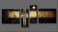 100% Handpainted Черное золото Абстрактная живопись маслом на холсте Mural Art Drawing для дома Living Hotel офиса Декор стены