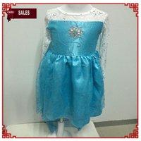 2014 New Arrival Frozen Princess Dresses Blue Elsa Dresses A...