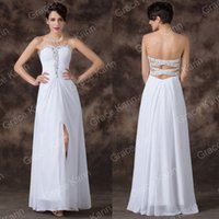 Grace Karin New Arrive Sexy Solid White Beaded Chiffon Forma...