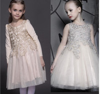 2016 Spring Children Clothes Wonderful Lace Champagne Dress ...