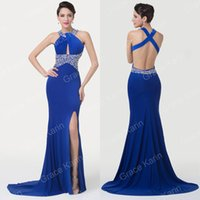 Grace Karin Sexy Cross Back Split Milk- Fiber Ball Gown Eveni...