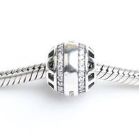 Pour Pandora Bracelets 4.5mm pierre incrusté creux dangle charmes Argent Perles Cubic Zirconia 100% 925 Sterling Silver Charms pour Bijoux DIY