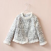 Autumn Girls Lace Inclined Zipper Jacket Lined Cotton Childr...