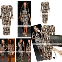 2015 New Women Casual Dresses Leopard Print 3 4 Long Sleeves...