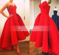 Red Vintage Hi- Lo Arabic Prom Dresses Simple Modest A- line E...
