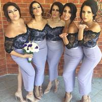 Новые Sexy Элегантные 2017 года Оболочка Короткие платья невесты плеча шнурка Аппликация назад Сплит длины лодыжки Bridesmaids Gowns гостей свадьбы