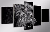 5 шт HD Печатный лев белый черный Картина Печать холст комнаты декор печать плаката картина холст абстрактные картины маслом