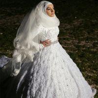 2017 New Design Muslim Wedding Dresses Lace High Neck Long S...