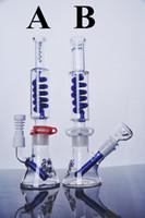 Illadelph Bongs en verre bonneterie en verre diffuse downstem amovible Helix serpentine tubes d'eau plate-forme pétrolière avec clips 14 mm joint
