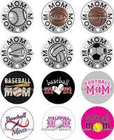 Free shipping Football Baseball MOM glass Snap button Jewelr...