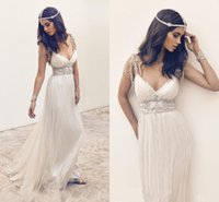 2016 Crystal Spaghetti Plunging Neck A Line Long Summer Ocea...