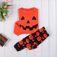 Boy girl Halloween pumpkin Pajamas set 2016 new children Cot...